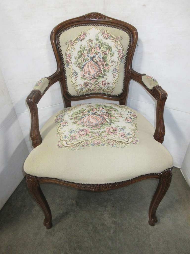French Style Arm Chair with Needlepoint Tapestry Seat and Back