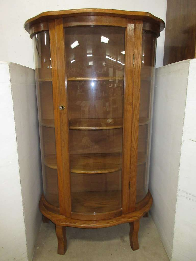 Curved Glass Curio Cabinet, Solid Wood Shelves