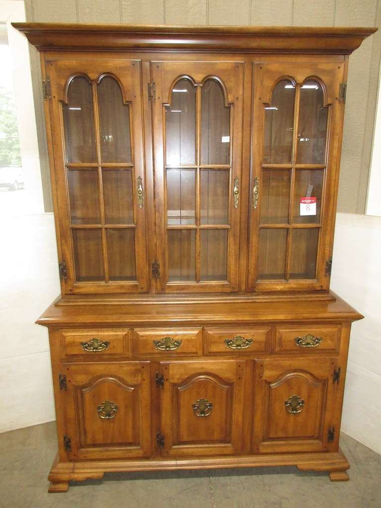 Two-Piece China Cabinet with Glass Shelves, Two Drawers, and Three-Door Lower Storage, Lighted
