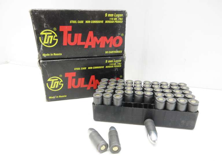 (2) Boxes of 9mm Luger, 115 Grain FMJ, 100 Rounds Total