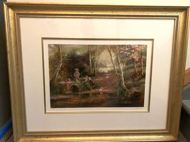 "English Artist Paul Attfield ""Rivers Edge"", 140/200 Print in Detailed Gold Frame, Print Hand Signed and Numbered by Artist, From the Wentworth Gallery of Miami, FL"