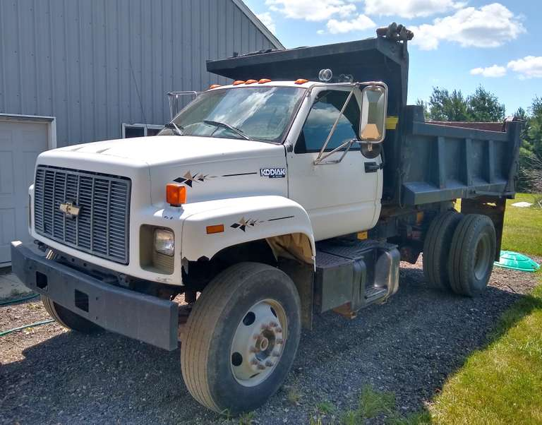 1996 Chevy 5-7 Yard Dump Truck, Cat Engine, 5-Speed with 2-Speed Rear Axle (Needs Hooked Up), Air to Rear with Pintle Hitch, Runs and Drives Well, Could Use Some TLC, Clean and Clear Title