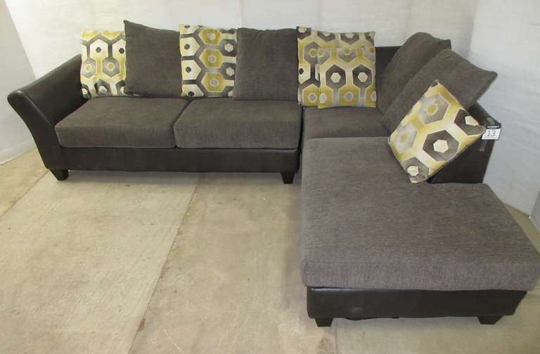 Large L-Shaped Gray Living Room Sofa Sectional with Matching Throw Pillows, Two Pieces