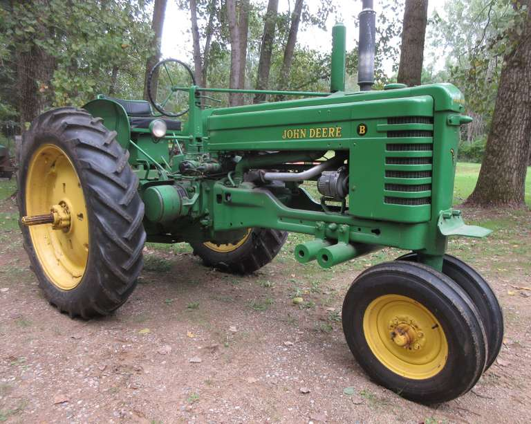 1951 John Deere B, Serial No. 281220, Restored, Electric Start, Newer Rubber Tires, New 12 Volt Battery, Auxiliary Live Hydraulics, Rebuilt Carburetor, Rebuilt Distributor, Factory Option 801 Style 3-Point Hitch, Front Weights Under Front for Blade Work, Runs Great, Excellent Condition, NOTE: Video loaded for this item!