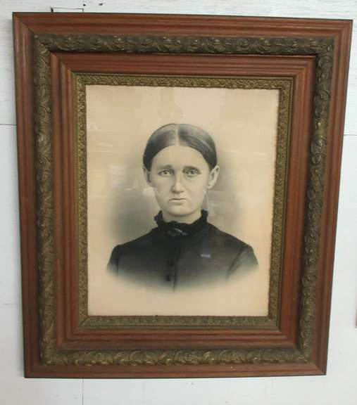 Very Old Mid-1800s Picture and Frame Under Glass