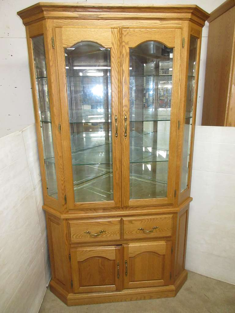 Oak Curio Cabinet with Glass
