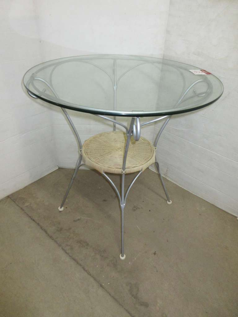 Wire Framed Table with Glass Top