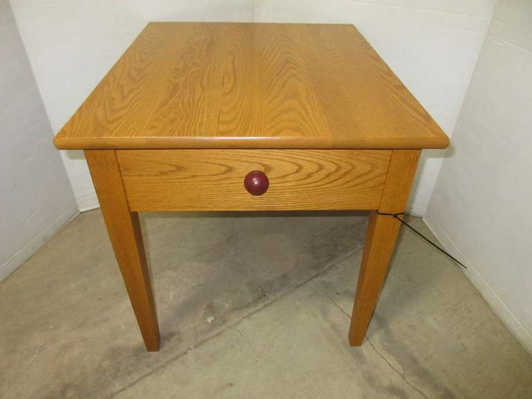 Oak End Table with Hinged Top for Storage