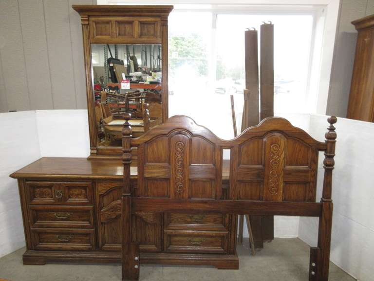 Burlington House Furniture Full Size Headboard Frame and Dresser with Mirror, Matches Lot No. 28
