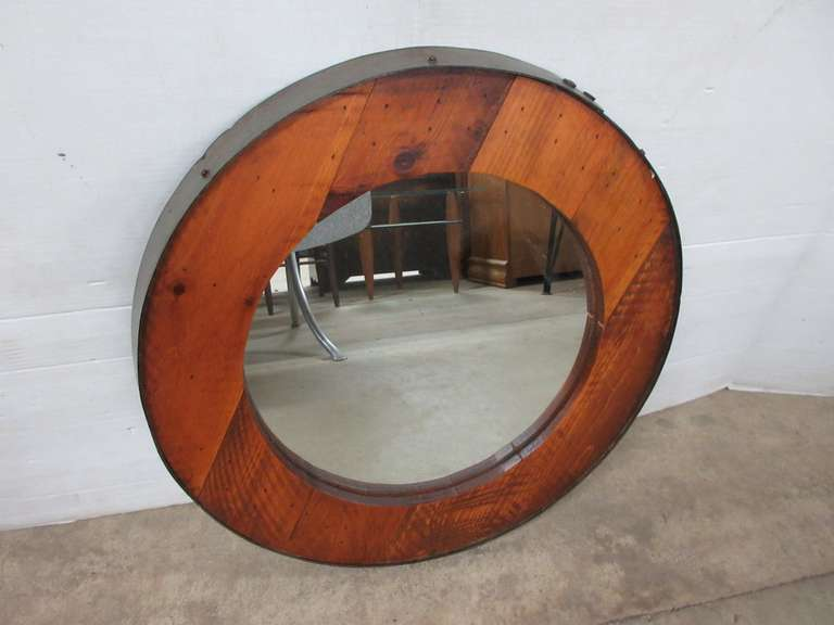 Older Original Oak Wood Whiskey Barrel Mirror