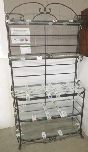 Wrought Iron Shelf with Glass Shelves