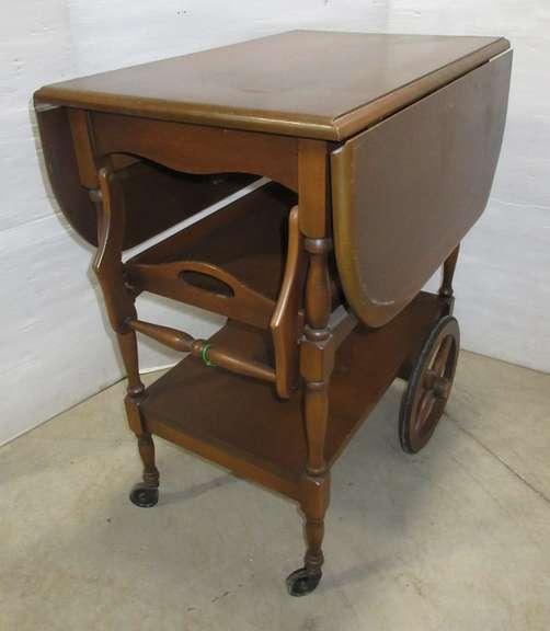 Drop Leaf Wood Tea Cart