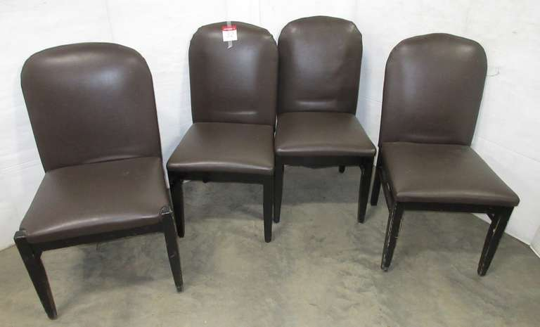 (4) Heavy Duty Leather Padded Dining Room Chairs