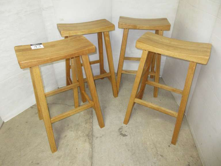 (4) Saddle Style Bar Stools, Natural Finish