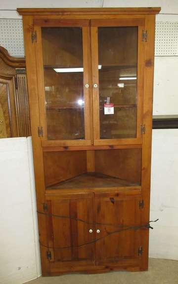 Knotty Pine Corner Cupboard