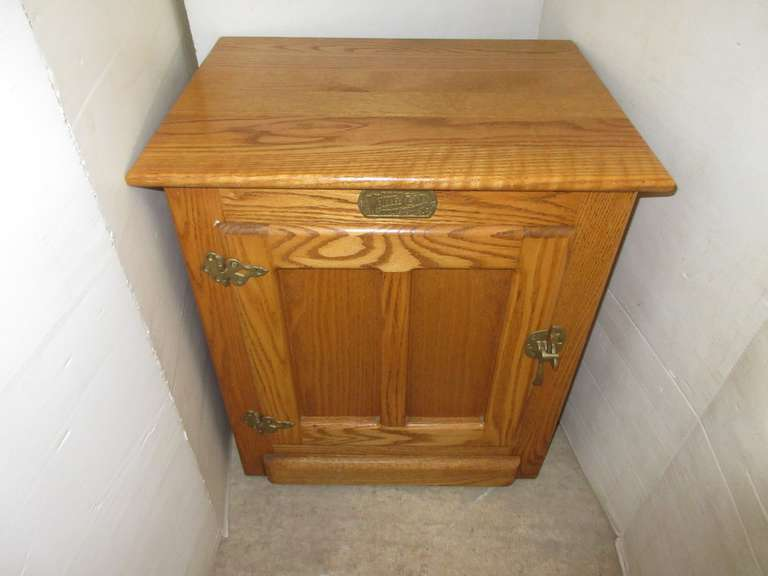 Solid Oak Stand, Looks Like Old Ice Box, Shelf Added, Matches Lot No. 47