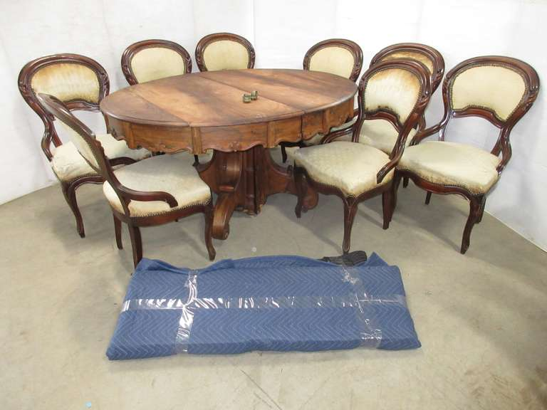 Antique Table, Includes: Rosewood, Victorian Style, Made in 1850, (3) Leaves of Black Walnut, (8) Chairs with Original Coverings, Originally Used in an 1850 Funeral Parlor