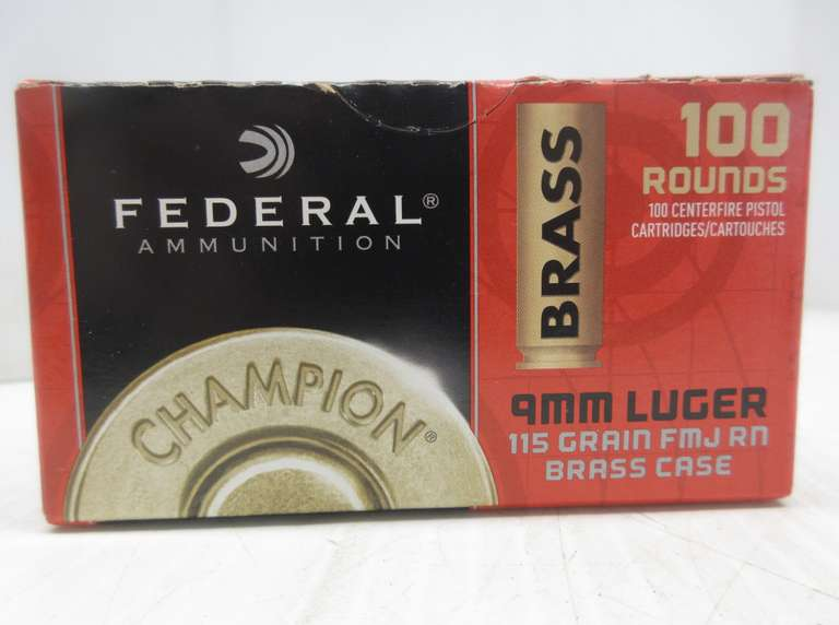 (100) Rounds of Federal 9mm Luger Ammo, 115 Grain FMJ, Round Nose, Brass Case