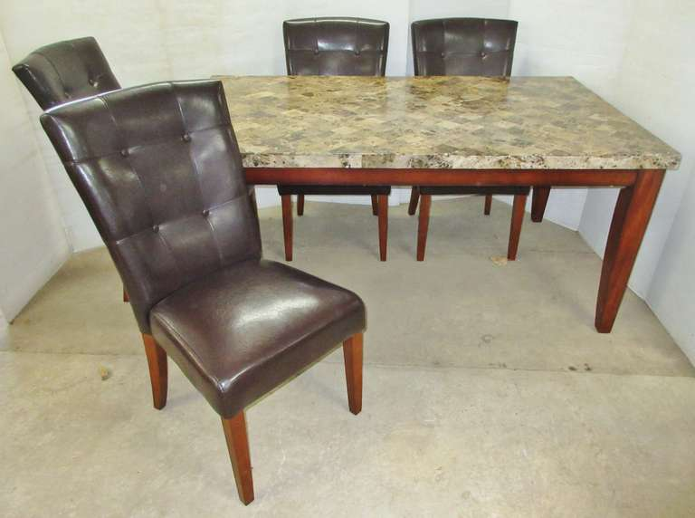 Marble Style Top Kitchen Table with (4) Matching Chairs