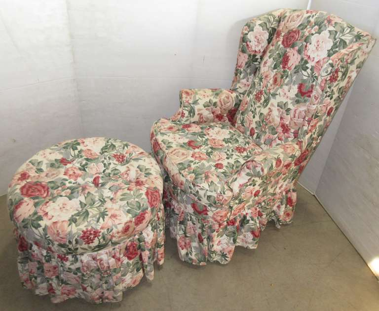 Floral Covered Chair with Matching Foot Stool