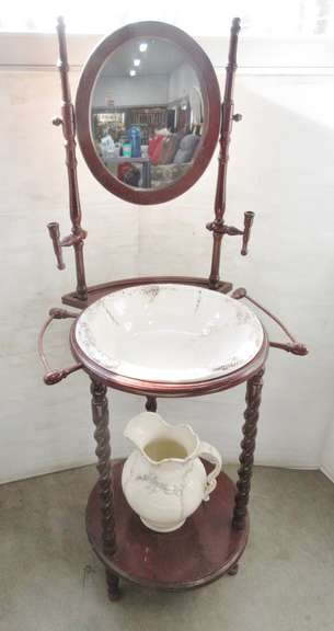 Older Washstand with Pitcher and Bowl