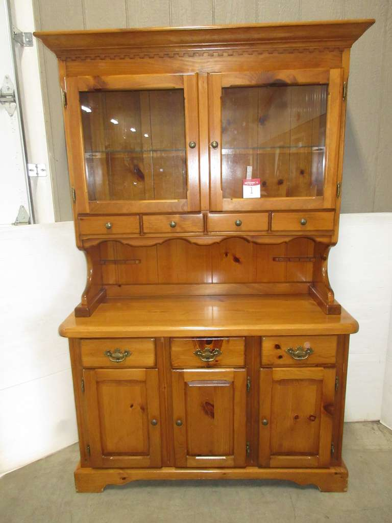 Two-Piece Lighted Pine China Cabinet