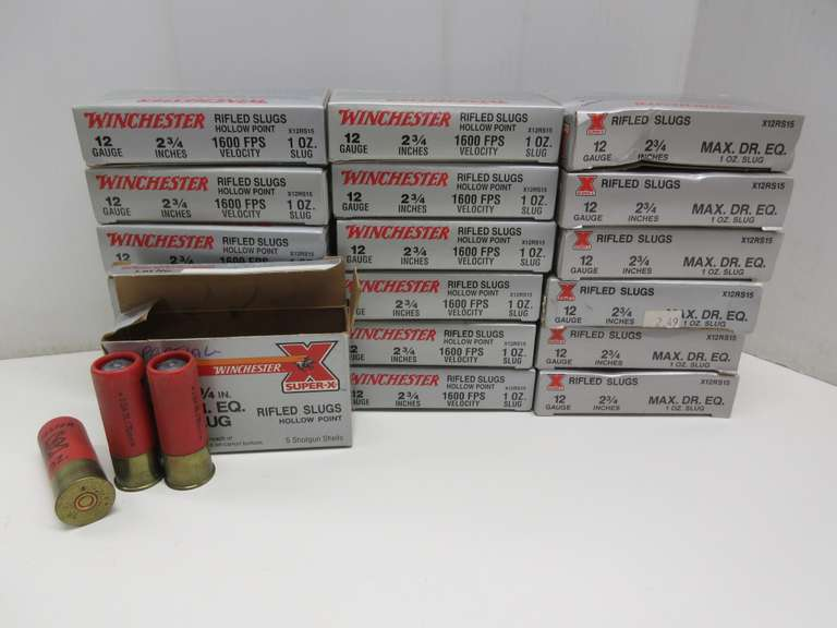 "(93) Rounds of Winchester 12-Gauge 2 3/4"" 1 oz. Rifled Slugs, This Item is From the Gerald Force Estate of Millington, MI"