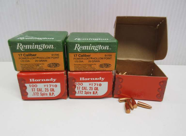 (5) Boxes of .17 Cal. Bullets, 100 per Box