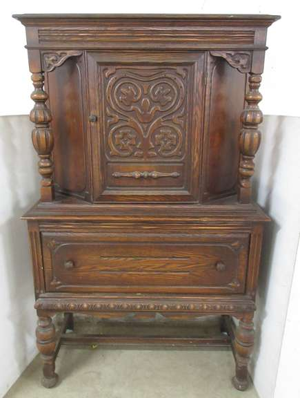 Intricate Wood Carved Cabinet, Matches Lot No. 4