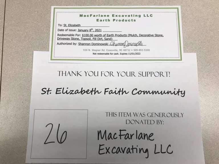 Earth Products from MacFarlane Excavating LLC: This Gift Certificate from MacFarlane Excavating is for $100 Worth of Earth Products, Including Mulch, Decorative Stone, Driveway Stone, Topsoil, Full Dirt, and Sand