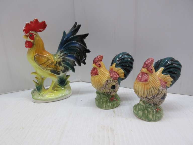 Norcrest Rooster, and Paintware Rooster Salt and Pepper Shakers