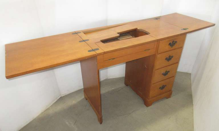 Sewing Desk with Four-Drawers and  Sides that Flip Open