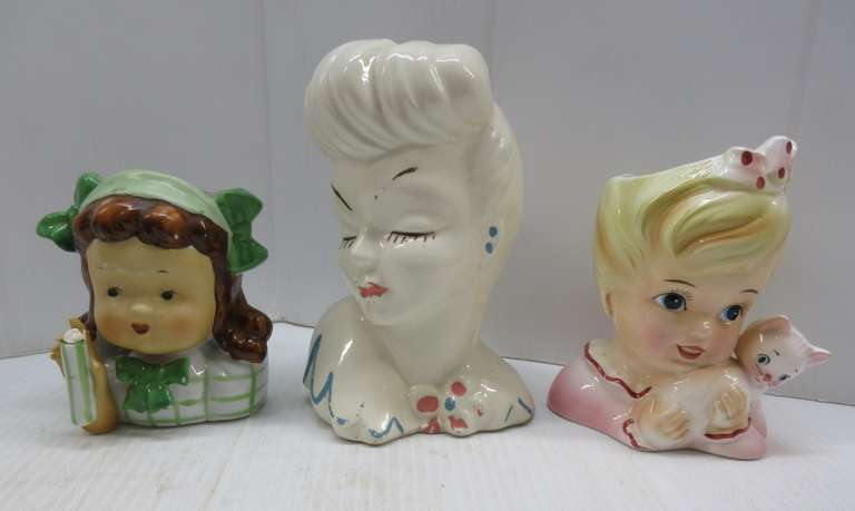 "(3) Head Vases: Marked USA, 7"", Has Paint Loss; Marked Enesco Japan, 5 1/2"", Good; No Mark, 4 1/2"", Missing Something in Glass or Vase"