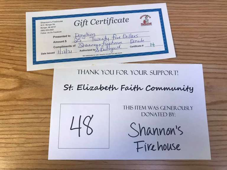 $25 Shannon's Firehouse Giftcard