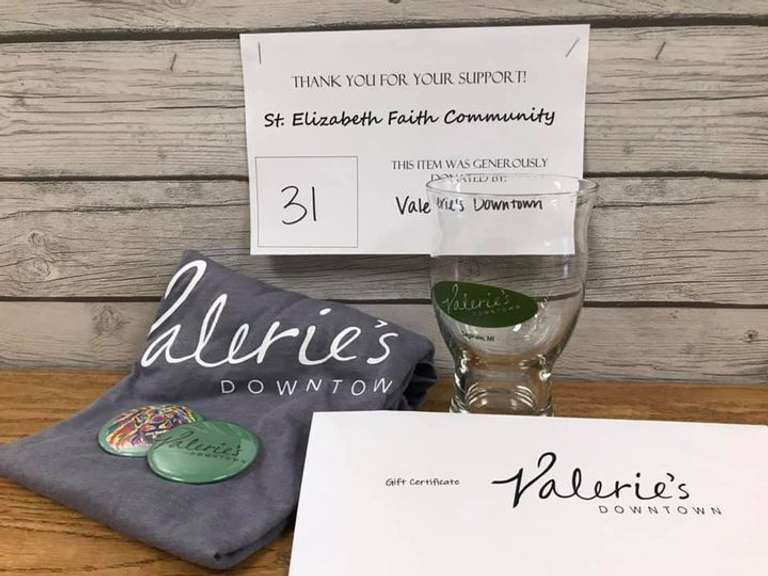Valerie's Package: $40 Gift Certificate, Medium T-Shirt, and (2) Pins