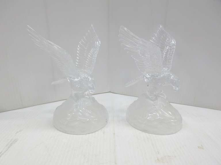 Set of (2) Large Glass Crystal Eagle Statues with Frosted Accents