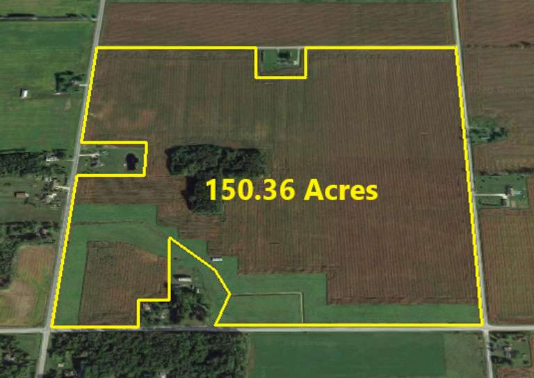 150.36 Acres ± Tiled Farmland Including 5.75 Acres of Woods with a 24' x 58' Tool Shed.