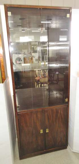 Older Drexel Heritage Lighted Wood Display Case with Smoked Glass Shelves and Doors, No. 64557