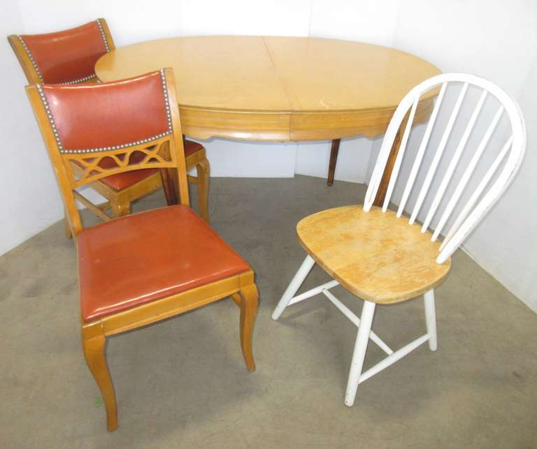 Table and Chairs from Wisconsin Chair Co., Including: (2) Chairs that Match the Table, and a Mismatched Chair