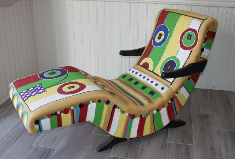 Mid-Century Modern Rocking Chaise Lounge Chair, Hand Painted Funky Design, Original Vinyl was Covered with Yellow Fabric and then Hand Painted, Buttons are Glued On, Use E-600 Glue and it will Hold Very Well