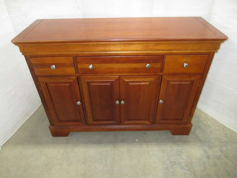 Large Stanley Furniture Light Wood Buffet Sideboard Credenza with Three Upper Drawers and Bottom Storage Areas