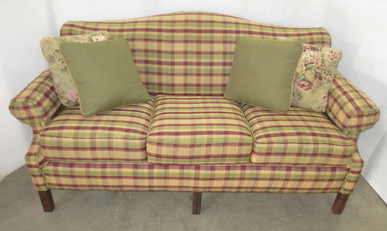 Plaid Sofa, Red and Green Stripes, Pillows Included
