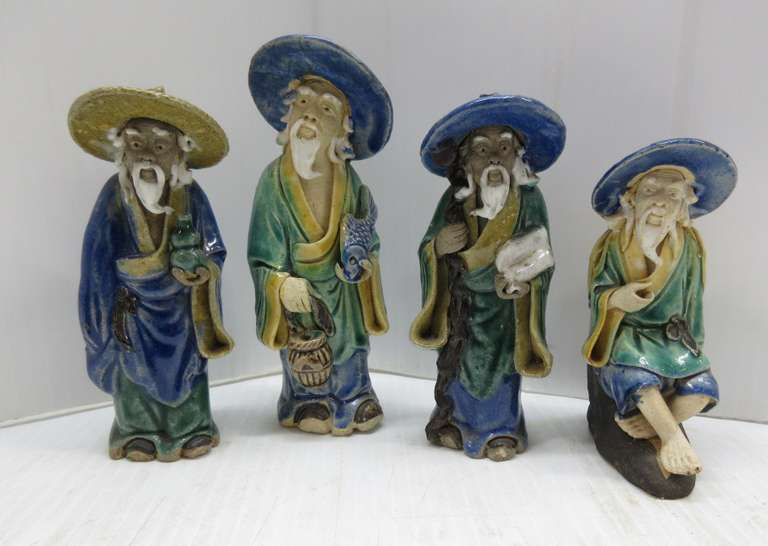 (4) Ceramic Chinese Mud Men