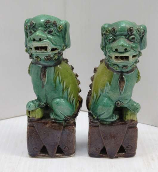 "(2) Old Ceramic 6"" Green Foo Dogs"
