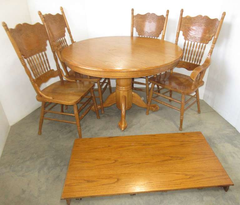 "Six-Piece Oak Kitchen Table Set: 4- Chairs; Round Table, 48""Dia x 30""H; Table Leaf, 24""W"