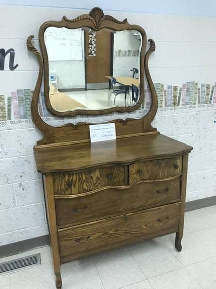 Early 1900's Antique Victorian Oak Dresser with Beveled Mirror