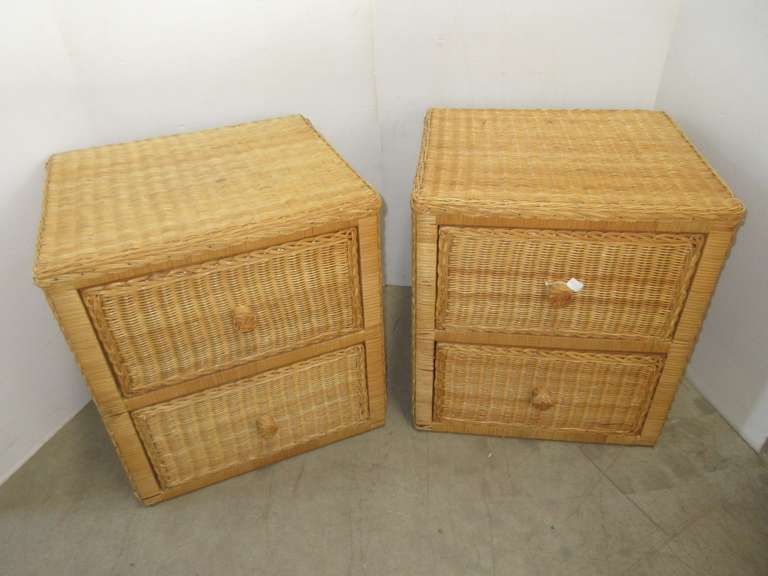 Set of (2) Wicker/Rattan Two-Drawer End Tables/Night Stands