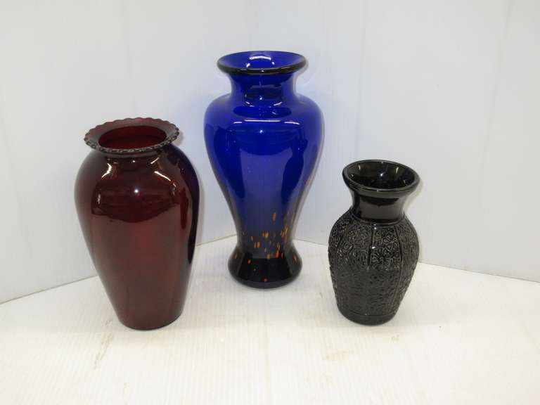 "(3) Assorted Old Vases: Ruby Anchor Hocking Vase, 9""; Cobalt Art Glass Vase, 11""; Amethyst Vertical Panel Vase, 7"""