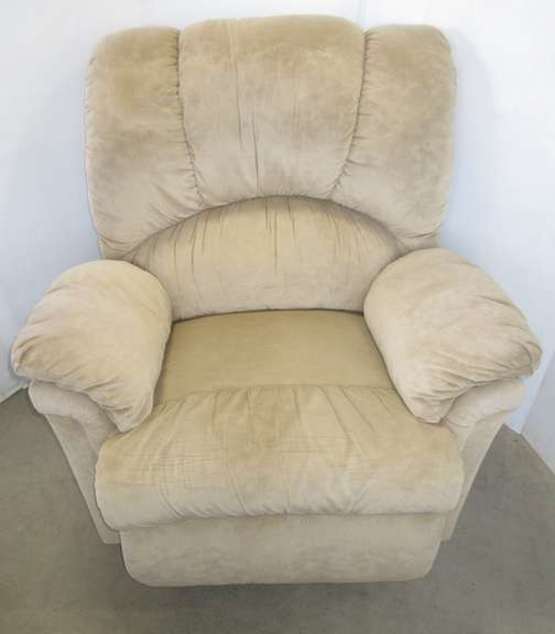 Light Tan Rocker Recliner with Suede Like Fabric