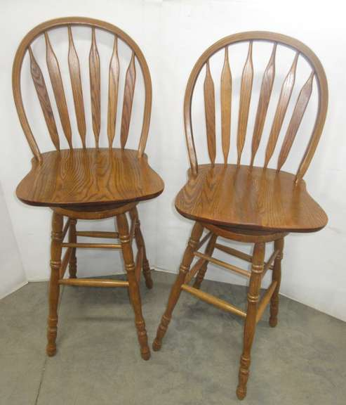 (2) Solid Oak Tall Bar Stools, Made in Seattle, WA